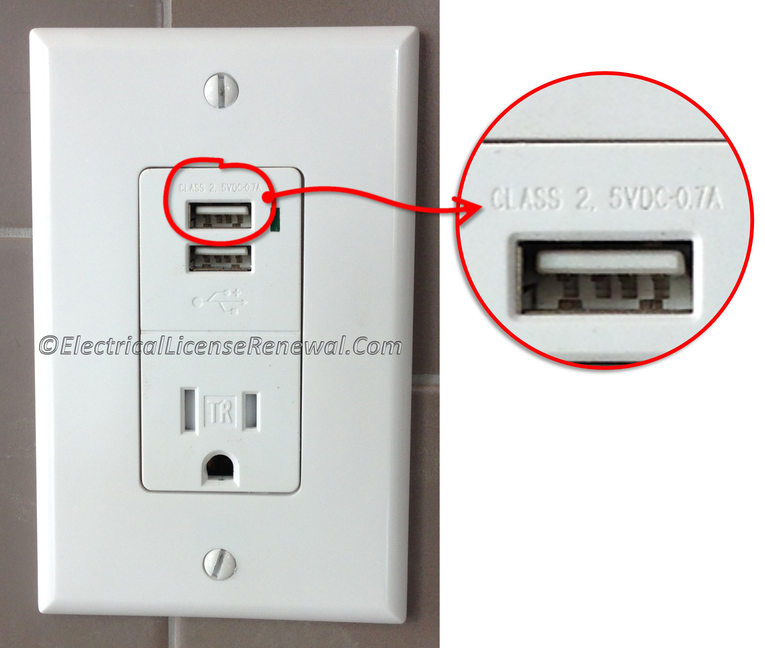 406.3(F) Receptacle with USB Charger.
