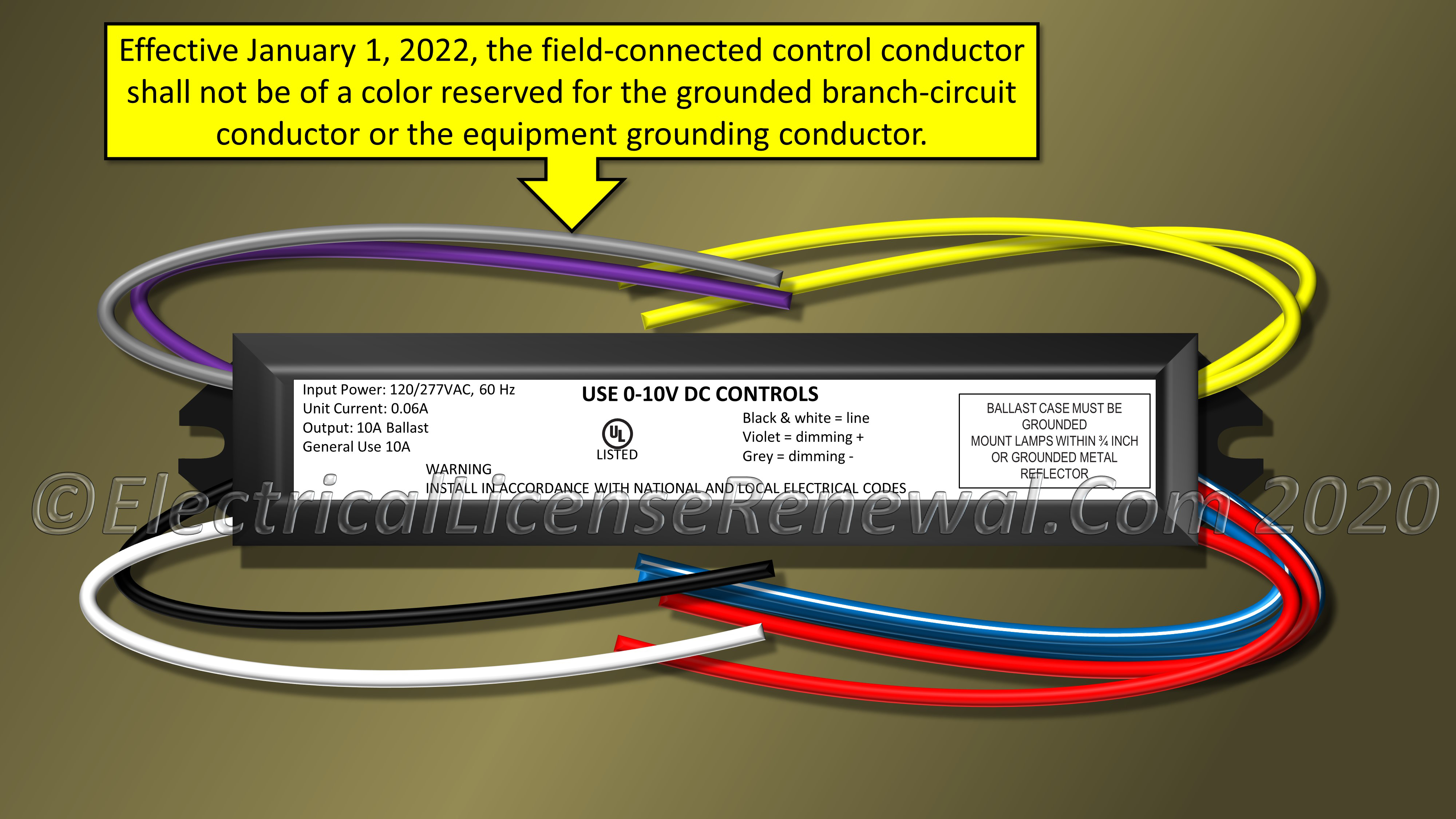 410.69 identification of control conductor insulation.  electrical license renewal